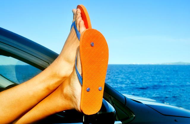 Driving in flip flops